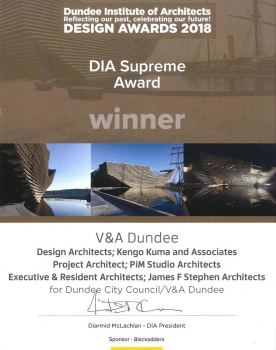 V&A Dundee wins Award from Dundee Institute of Architects
